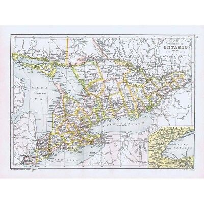 CANADA Provinces Ontario and Quebec - Double-Sided Antique Map 1891