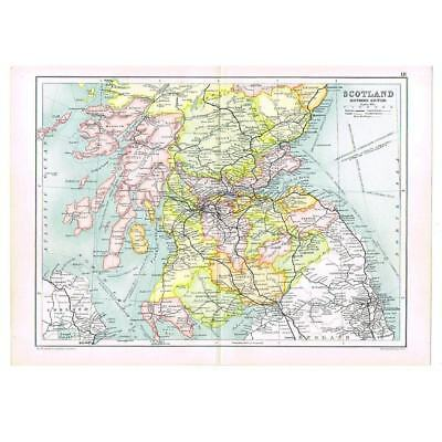 Antique Map 1910 - Southern Scotland with Railways depicted by Bartholomew