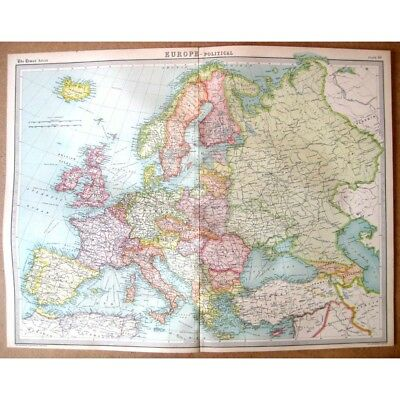 EUROPE Political - Vintage Map 1922 by Bartholomew