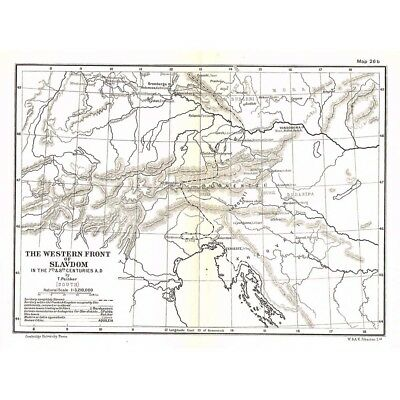 EASTERN EUROPE South Western Front of Slavdom in 7th & 8th Centuries Map - c1930