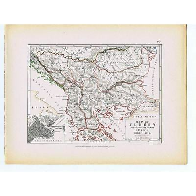 TURKEY to illustrate the War with Russia 1807-1812 - Antique Map 1875