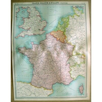 FRANCE BELGIUM & HOLLAND Political - Vintage Map 1922 by Bartholomew