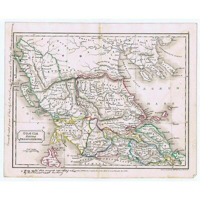 GREECE Roman Graecia Extra Peloponnesum - Antique Map 1829 by Butler