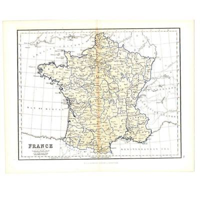 Antique Coloured Map 1856 - FRANCE in Provinces - by W&R Chambers