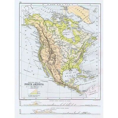 NORTH AMERICA Physical Map - Antique Map 1891 by Bartholomew