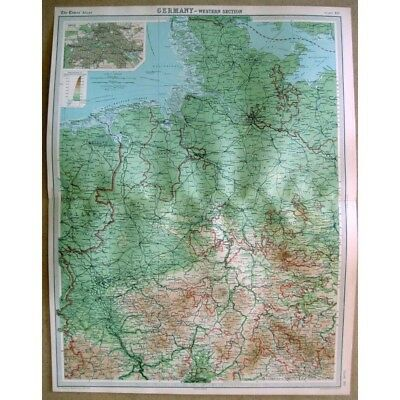 GERMANY Western Section inset of Berlin - Vintage Map 1922 by Bartholomew