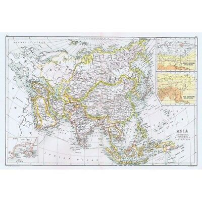 ASIA inset of Aden - Double Sized Antique Map 1891 by Bartholomew
