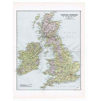 BRITAIN Main/Principal Roads of British Isles- Antique Map 1904 by Bartholomew