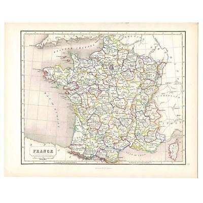 Antique Coloured Map 1846 - FRANCE in Departments by Gellatly - Chambers Atlas