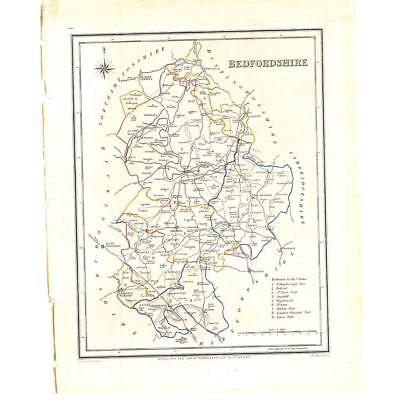 Coloured Antique Map 1835 - Bedfordshire by Walker for Lewis Topographical Dict