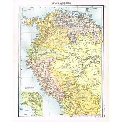 SOUTH AMERICA NW Peru, Ecuador, Bolivia, Colombia inset Lima-Antique Map 1894