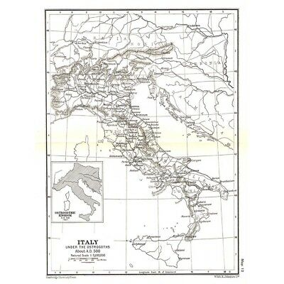 ITALY Under the Ostrogoths in 500AD Map c1930 by W&AK Johnston