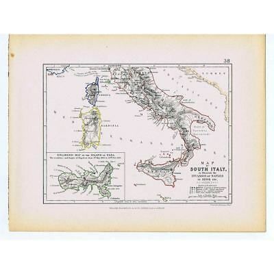 ITALY Invasion of Naples 1806 inset of Elba residence of Napoleon - 1875 Map