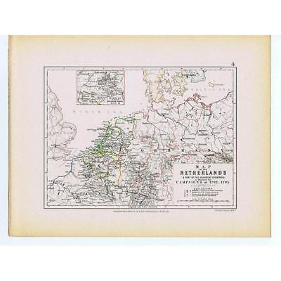 NETHERLANDS Battle Campaigns of 1792-1795 French Revolutionary War - 1875 Map