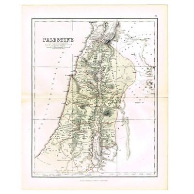 Antique Coloured Map 1856 - PALESTINE for Scripture Geography - by W&R Chambers