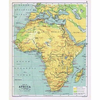 Antique Map 1898 - AFRICA with Political Features Shown by John Bartholomew