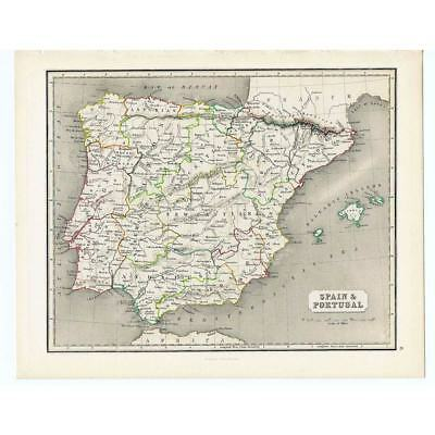 Antique Coloured Map 1846 - SPAIN and PORTUGAL by Gellatly - Chambers Atlas