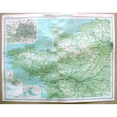 FRANCE North West; Inset of Paris, Brest, Le Havre - Vintage Map 1922