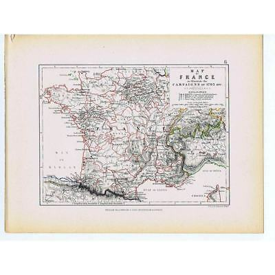 Battle Campaigns of 1793 - French Revolutionary War - 1875 Map