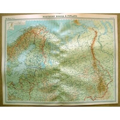 NORTHERN RUSSIA & FINLAND - Vintage Map 1922 by Bartholomew