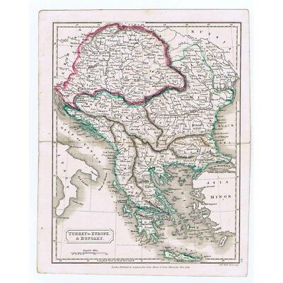 TURKEY in Europe and HUNGARY - Antique Map 1826 by Butler