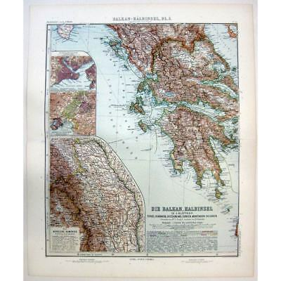 GREECE Inset of Athens and north Romania - Antique Stieler Map 1905