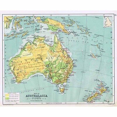 Antique Map 1898 - AUSTRALASIA with Political Features Shown by John Bartholomew