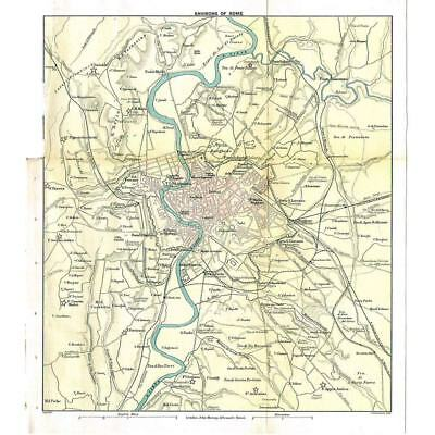 ENVIRONS OF ROME - Antique Map 1899 by Bartholomew Published by Murray