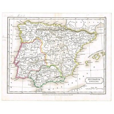 SPAIN Hispania Antiqua Roman Spain - Antique Map 1829 by Butler