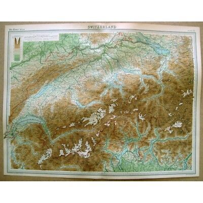 SWITZERLAND - Vintage Map 1922 by Bartholomew