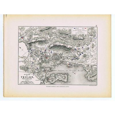 FRANCE Siege of Toulon 1793 - Battle lines of The French and Allies - 1875 Map