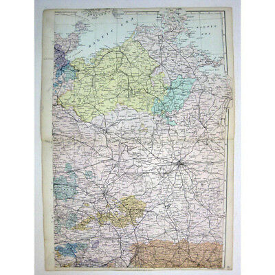 GERMANY (NE) German Empire Mecklenburg, Anhalt - Antique Map 1880 by Bacon