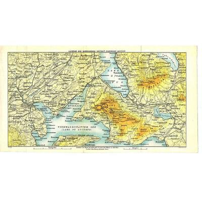 LUCERNE and Environs (North) Switzerland - Antique Map c1899 by Bartholomew