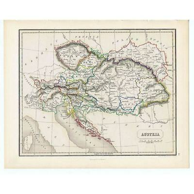 Antique Coloured Map 1846 - AUSTRIA by Gellatly - Chambers Atlas