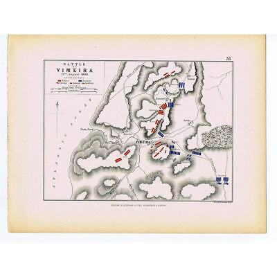 PORTUGAL Battle of Vimeiro 1808 - French and Allied Positions - Antique Map 1875