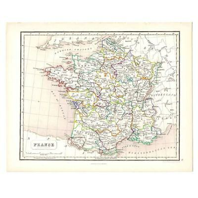 Antique Coloured Map 1846 - FRANCE in Provinces by Gellatly - Chambers Atlas