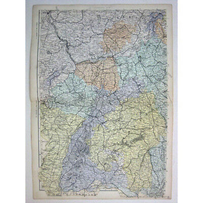 GERMANY (SW) German Empire, Darmstadt, Wurtemberg - Antique Map 1880 by Bacon