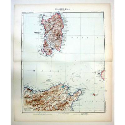 SARDINIA Sardegna, North East Africa - Antique Stieler Map 1905