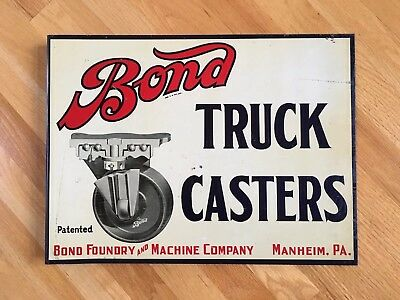 Vintage Bond Truck Casters Industrial Shop Double Sided Flange Advertising Sign