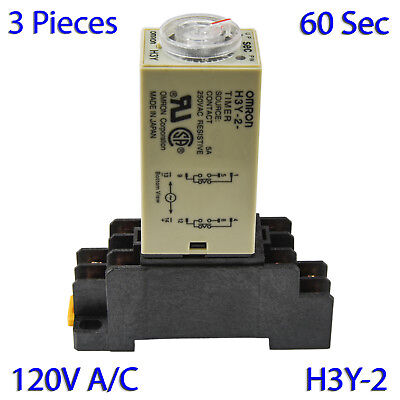 (3 PCs) H3Y-2 Omron 120VAC Timer Relay DPDT 8 Pin 5A (60 Sec) with Socket Base