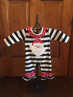 Santa Christmas Knit Romper Infant girls holiday one piece