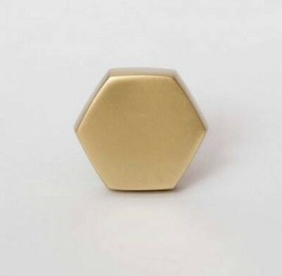 1 Gold Brushed Brass Hexagon Metallic Drawer Knob Door Handles Bombay Duck