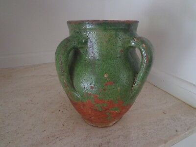 Rare Antique 19Th Century Terra Cotta French Confit Pot Green With 4 Handles