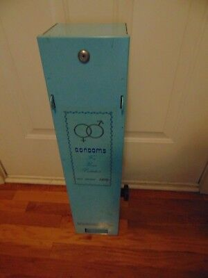 "Light Blue Condom Vending Machine 28"" Tall  Vintage Condoms Medicine"