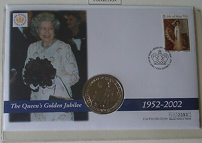 2002 The Queen's Golden Jubilee Coin Cover - Isle of Man - Crown coin