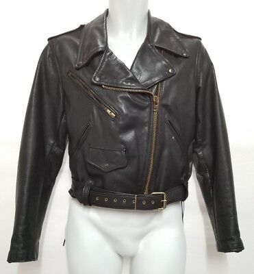 Vintage Brooks Genuine Leather Motorcycle Jacket Black Size 38 Made In Usa