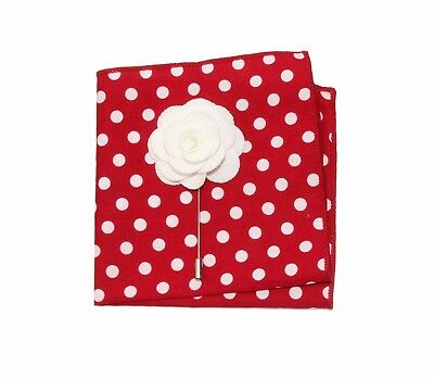 "Red White Polka Dots 8"" x 8"" Pocket Square and White Floral Lapel Stick Pin"
