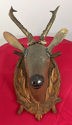 Antique 1900 Black Forest Hand Carved Wood German hunting deco design bauhaus