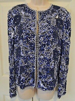 Vtg Scala Sequined/ Beaded Long Sleeve Jacket (L) Blk/Silver/Navy