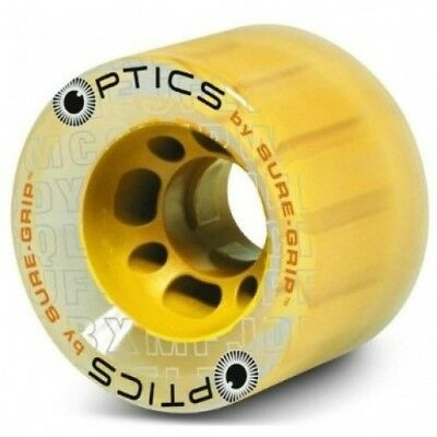 (Yellow Hub, 8 Wheels) - Suregrip Optics 62mm Clear Roller Skate Wheels